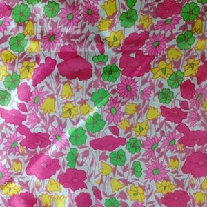Bright floral green & pink vintage nylon scarf